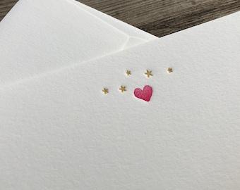 Set of 5 letterpress cards & envelopes - starry heart