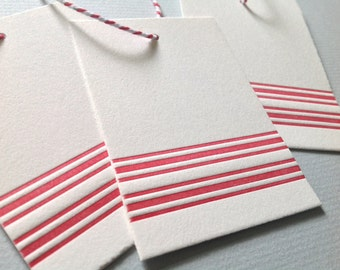 Letterpress Gift Tags - Red Stripes - Set of 8