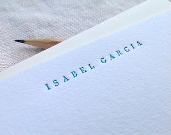 Personalized letterpress stationery - Isabel - Set of 25 cards & envelopes