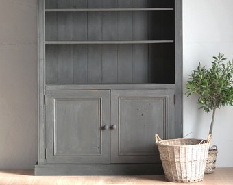 Large Display Cabinet Shabby Chic Bookcase Shelving Storage Solid Pine Antique Old Black