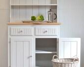 Small country kitchen dresser, grey pine welsh dresser, china display cabinet, pine dresser, farmhouse style dresser, country dresser
