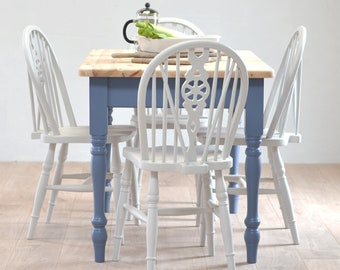 Sold/Small Rustic Farmhouse Table, Small Dining Table, Petite Kitchen Pine  Table, Four Seater, Small Pine Table, Blue Table, Pine Table