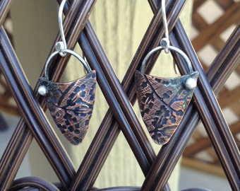Copper and Sterling  Earrings