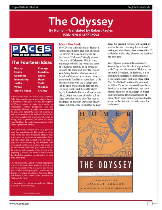 the odyssey robert fagles study guide with answer key etsy rh etsy com 7.2 Study Guide Respiratory System Worksheet Answer Key