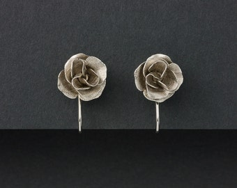 Vintage Rose Earrings Silver Tone Patent Number 3176475