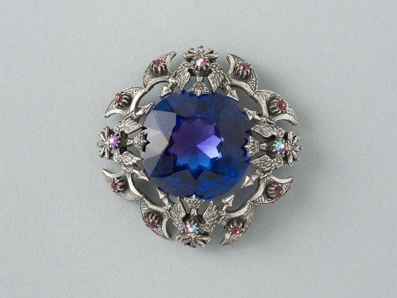 Vintage Rutino of Italy Heraldic  Shield  Brooch or Pendant  Sapphire Blue rhinestone