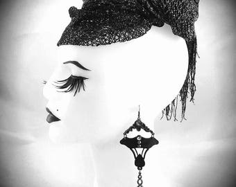 Black Daffodil Earrings - Lasercut Leather - Art Nouveau Jewelry - Unique Long Earrings - Boho Festie - Silver and Rhinestones