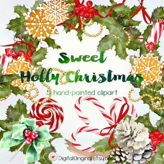 Christmas Clipart Png.Sweet Holly Christmas Clipart High Quality 300ppi 5 Big Size Designs Transparent Background Png