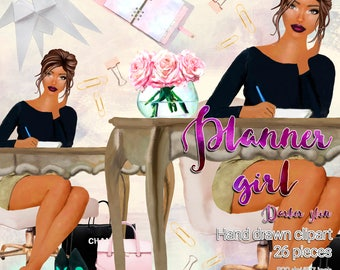 Planner girl darker skin clipart / 26 fashion girl clipart / High quality  graphics for planners and more / 300ppi transparent background