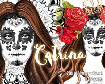 Catrina themed clipart / Quality  graphics for planners and more / 10 PNG 300ppi transparent background 20 files (10 JPG) + 1 Extra