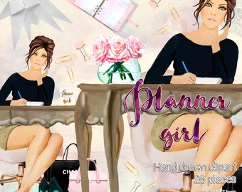 Planner girl themed clipart / 26 fashion girl clipart / High quality  graphics for planners and more / 300ppi transparent background