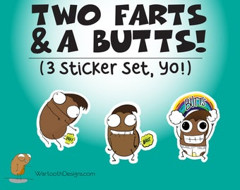 Two Farts & A Butts Sticker Set