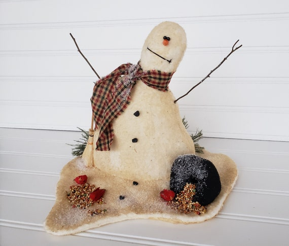 PATTERN~PRIMITIVE WINTER HOLIDAY SNOWMAN MAKEDO SHELF SITTER TUCK~