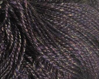 "Sparkly Merino Wool Handspun Yarn - DK weight - 250 yards, 4 ounces -  ""Aubergine Glitz"" (purple)"