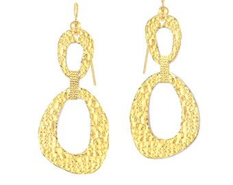 Solid 22k 5g and 7g Gold 55mm and 70mm 24k Gold Shiny Sizable Boho Hammered Concave Relief Chain Drop Fine Gold Earrings