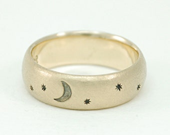 Solid Gold Ring-14 Karat Yellow Gold Band with Moon and Stars-Celestial Ring with Waxing Crescent Moon