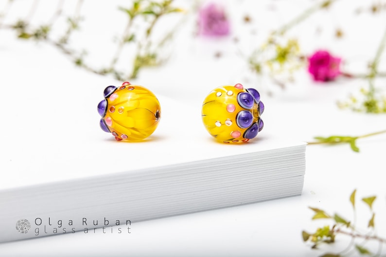Purple Pink Glass Beads Two Lampwork Beads for Jewelry Yellow