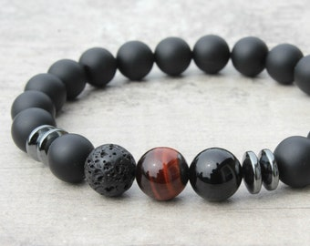 2 pc Men/'s Bracelet Set Gifts for Men Onyx Bracelet and Lava Stone Bracelet Set Gift for Dad Gifts for Father Gifts for Husband Birthday