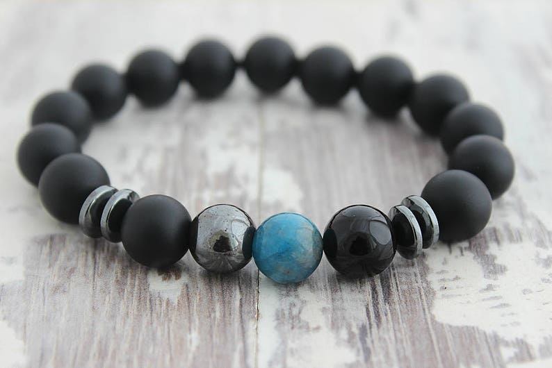 Men's Bracelet Men's Gift Blue Apatite & Black Onyx image 0