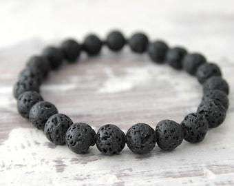 Black Lava Bracelet Essential Oil Diffuser Bracelet Boyfriend Gift Husband Gift Son Gift Mens Gift Mens Bracelet Beaded Bracelet
