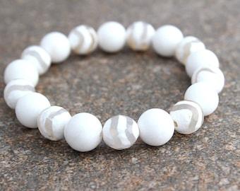 Womens Bracelet - Zebra White Agate Bracelet - Womens Gift for Mom - White Bracelet - Mother's Day Gift - Chunky Bracelet