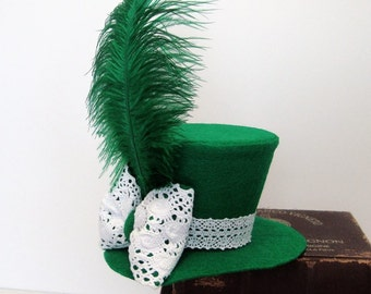 Emerald Green Felt Mini Top Hat, White Crocheted Bow, Green Ostrich Feather Fascinator, Ladies, Child, READY TO MOUNT