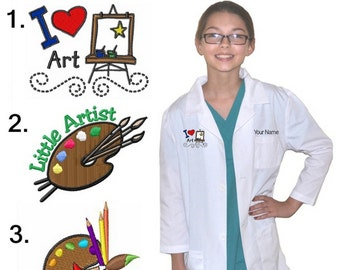 Kids Art Smock Coat Embroidered Personalized for little Artists