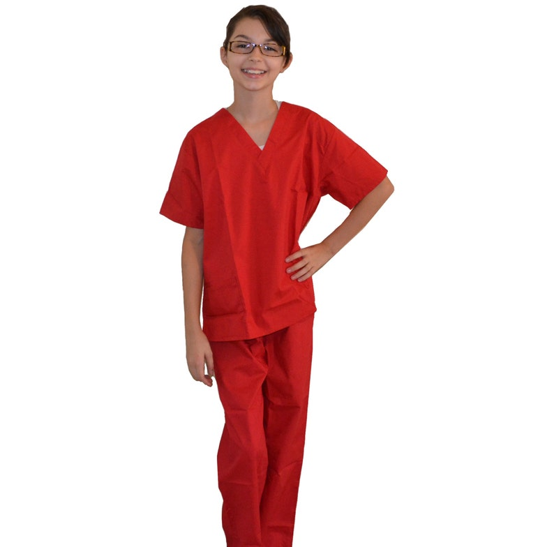 Red Kids Scrubs for little Doctors and Nurses