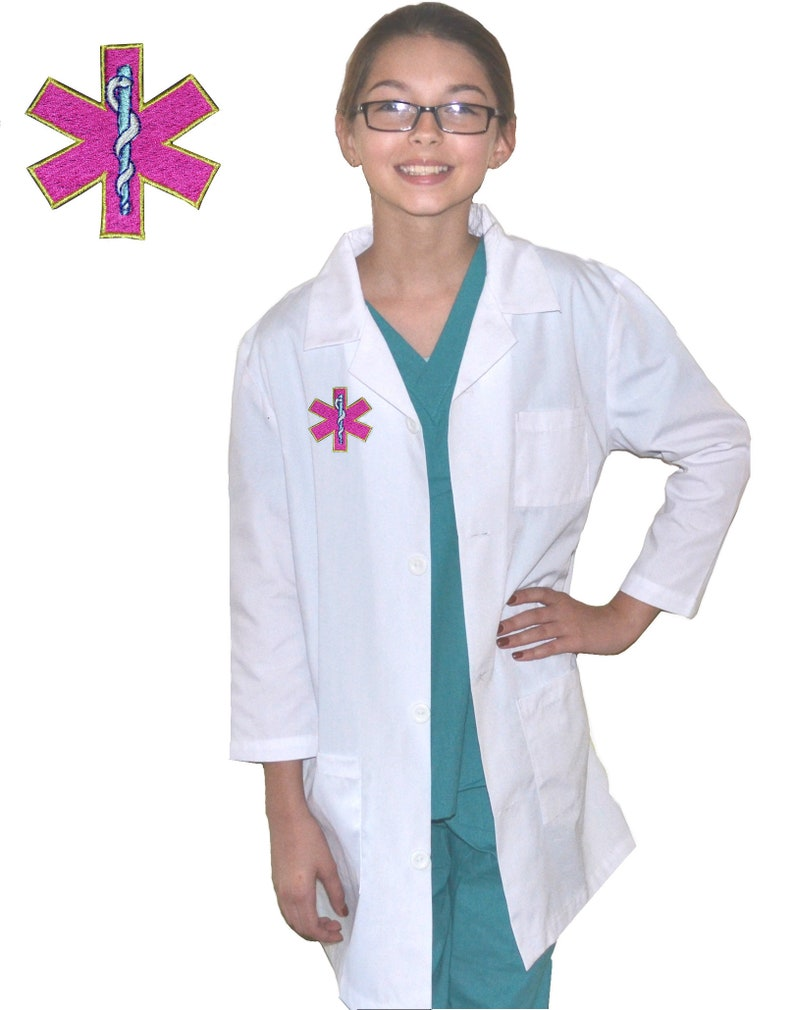 a3e512a3abb Kids Doctor Lab Coat with Pink Medical Symbol Star of Life | Etsy