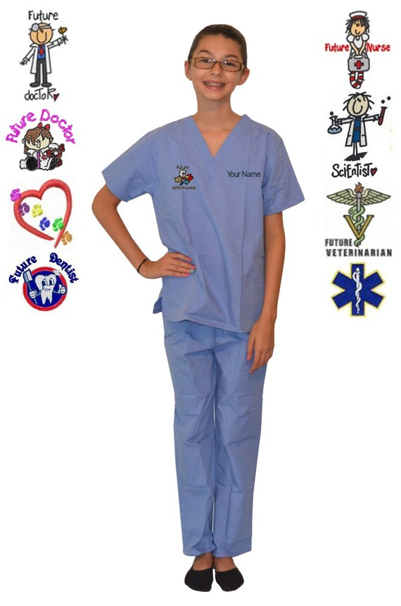 Personalized Purple Kids Scrubs for little Doctors Nurses and Veterinarians