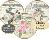 Ephemera French Circle 2.5 inch Instant Download digital collage sheet C226 Circles