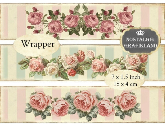 Printable Soap Wrapper Shabby Chic Labels Instant Download Digital Collage Sheet E103 Packaging Wrapping Roses Strips
