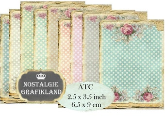 Background Polka Dots Shabby Chic Instant Download ATC Digital Collage Sheet S136