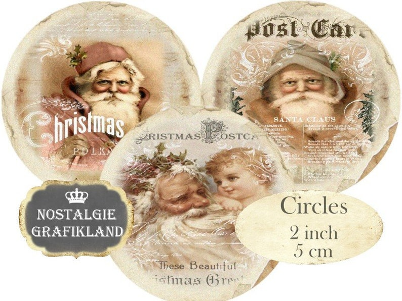 Santa Claus Father Christmas Noel Circles 2 inch Vintage Christmas Instant Download digital collage sheet C228