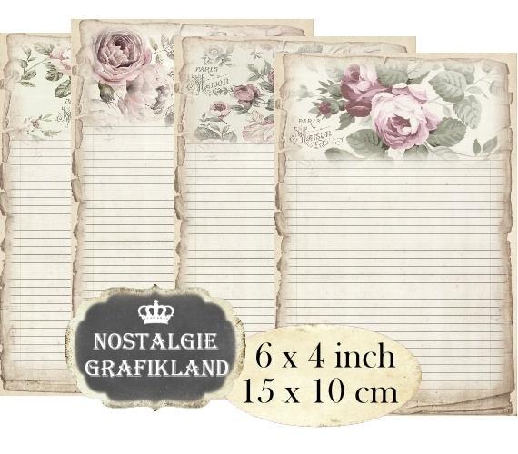 Schreibpapier Rosen Digital Vintage Shabby Chic Notizblätter 15 x 10 cm  Instant Download Decoupage digital collage sheet D218