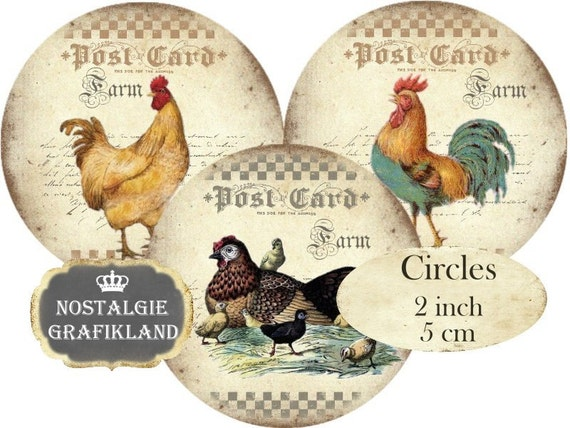 Farm Fresh Eggs Rooster Hen Circles 2 inch digital collage sheet download C097 Le Coq Poulet Ferme