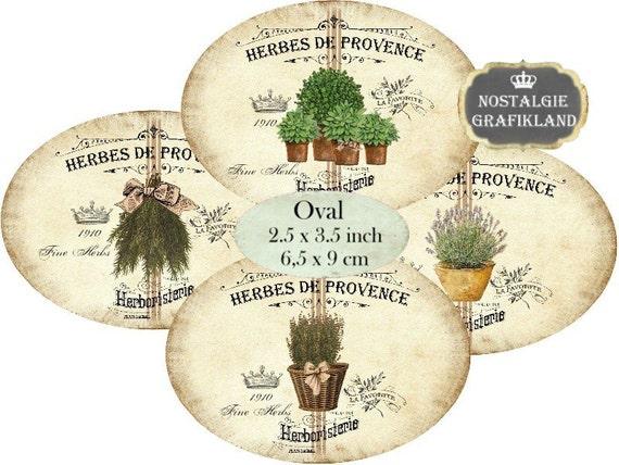 kr uter etiketten thymian basilikum oregano herbes de provence. Black Bedroom Furniture Sets. Home Design Ideas