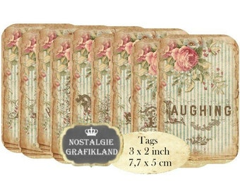 Sentiments Tags Instant Download digital collage sheet words dreaming smiling hoping laughing T134