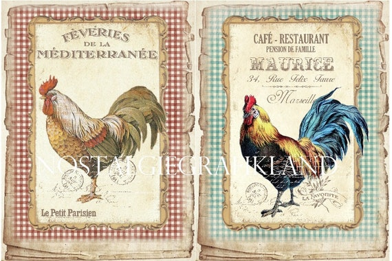 Rooster printable Hen Fresh Eggs Farm Papers Shabby Chic Vintage Large Image Digital Download digital collage sheet 8.5x11  PP169