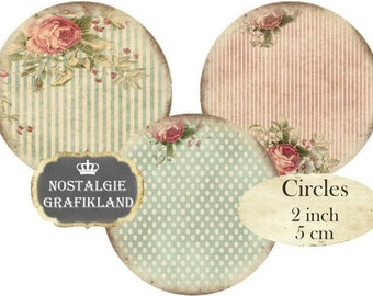 2 inch Circles Shabby Chic Background Round Images Instant Download digital collage sheet C108