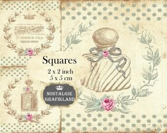 Perfume Squares 2x2 inch Soap Parfum Perfumerie Printable Instant Download digital collage sheet TW129
