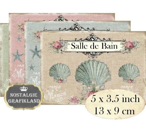 Bad Salle de Bain Muscheln Badewanne Seepferdchen Instant Download digital  collage sheet P147