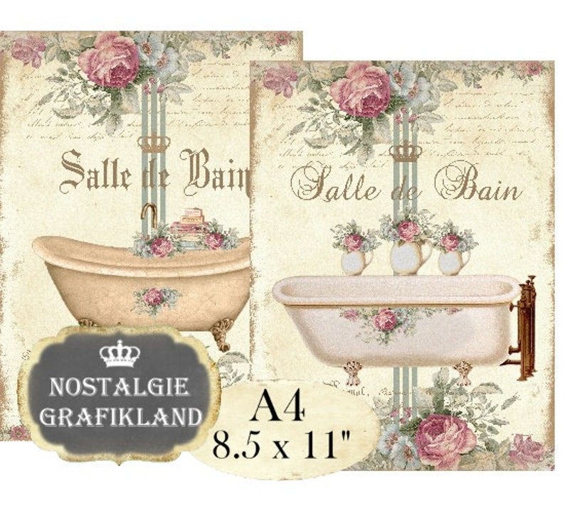 Bad Shabby Chic Badezimmer Badewanne A4 Instant Download digital collage  sheet A111