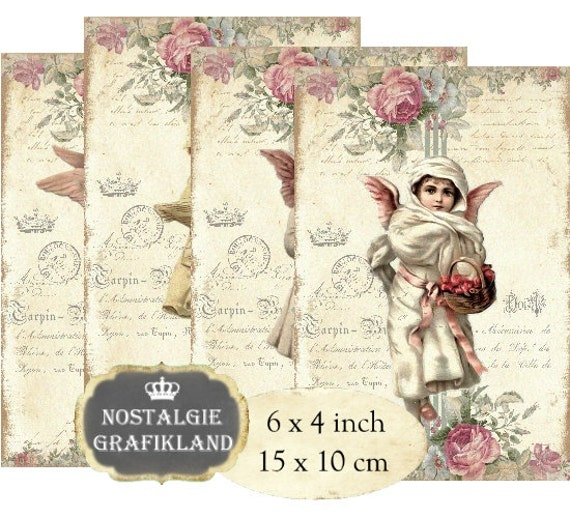 Victorian Vintage Angels and Cupids Collage Sheet 8.5 x 11