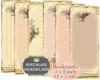 Shabby Bookmarks Instant Download digital collage sheet E171 Vintage Pastel Paper