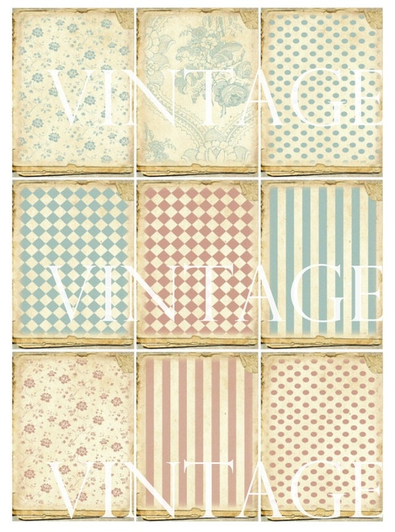 Pastel Shabby Chic Background Polka Dots Stripes Rhombus Instant Download ATC Digital Collage Sheet S203
