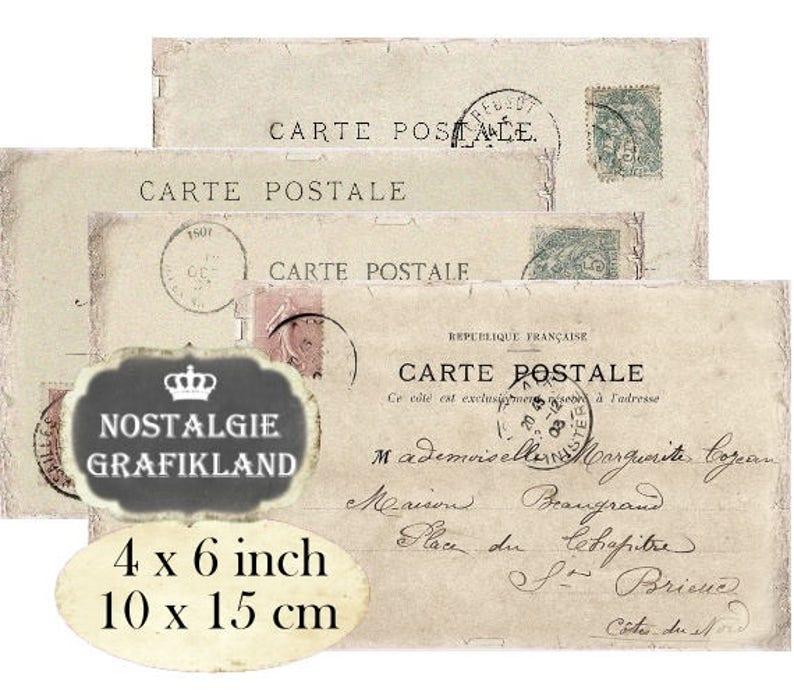 Carte Postale Francaise.Postcards Carte Postale Printable Ephemera Blank Postcard Etsy