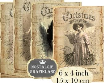 Vintage Angels 6 x 4 inch Instant Download digital collage sheet D209 vintage christmas angel anges photos