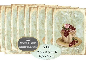 French Cupcakes Patisserie Instant Download ATC digital collage sheet S148 confiserie muffin chocolate cake