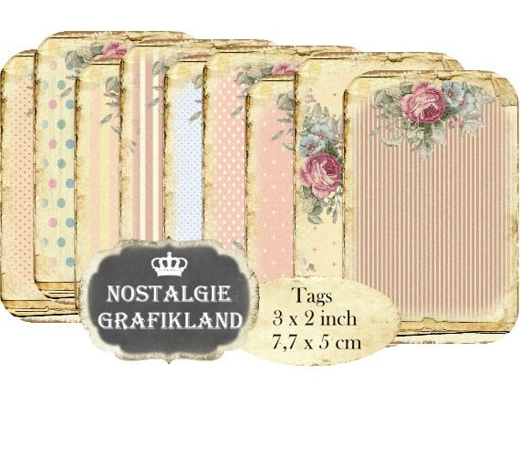 Shabby Chic Background Tags Stripes Polka Dots Rose Instant